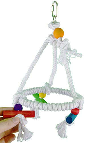 Image of Bonka Bird Toys 1422 Rope Swing Pyramid Perch Toy Parrot Cage Toys Cages Parakeet Lovebird Conure Cockatiel