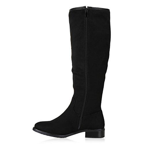 Stiefelparadies Klassische Damen Stiefel Leder-Optik Schuhe Boots Blockabsatz Schnallen Ösen Schnürungen Modische Langschaftfstiefel Flandell Schwarz Metallic Carlton