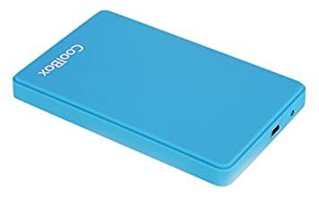 CoolBox Slimcolor2543 - Carcasa externa con acabado en goma para disco duro (HDD y SSD SATA 2.5″), USB 3.0, Azul