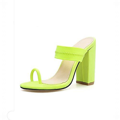 Femmes Size Green Avec Orteil color Pour Haut Épais Talon À Sandales Pantoufles Fubulecy Green Et 36 XgOwAw