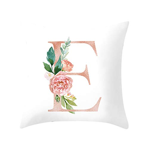 Throw Pillow Covers, Fulijie Rose Letter Print Throw Pillow Cases Cushion Cover for Bed Car Sofa Home Decor 18 x 18 Inch (Bath And Bed Teepee Table)