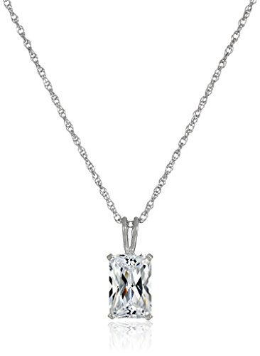 Platinum Plated Sterling Silver Emerald Cut Cubic Zirconia Solitaire Pendant Necklace, (Emerald Cut Emerald Solitaire)