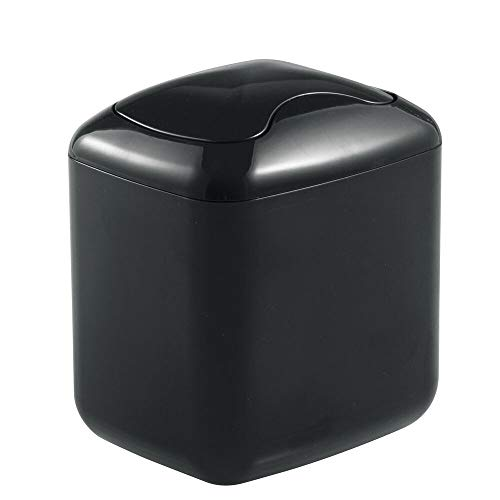 mDesign Modern Plastic Square Mini Wastebasket Trash Can Dispenser with Swing Lid for Bathroom Vanity Countertop or Tabletop - Dispose of Cotton Rounds, Makeup Sponges, Tissues - Black