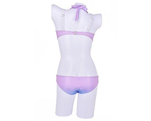 DSstyles púrpura diseño de color Shell Bra sirena como conjunto de bikini halter mujeres traje de baño de playa - A - Medio