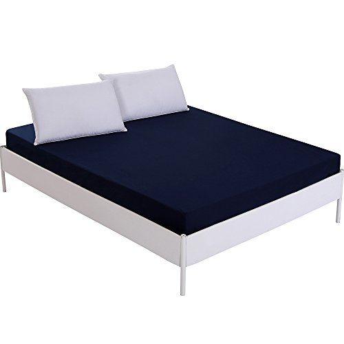 Homaxy Waterproof Mattress Protectors, 100% Microfiber Waterproof Bed Sheets, Premium Breathable Hypoallergenic Fitted Sheet Only - Vinyl Free, Twin Size of Navy Blue by Homaxy