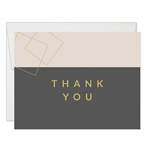 Minimalist Birthday Thank You Notecards with Envelopes (Pack of 25) Folded Thank You Cards Dinner Party Male Female Modern B'day Retirement Celebration Blank Note Thanks Excellent Value VT0071B -