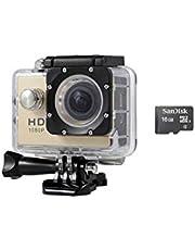 كاميرا 1080P Full HD Sports Action Camera 30M DV مقاومة للماء مع الملحقات وذاكرة خارجية 16GB ، ذهبي