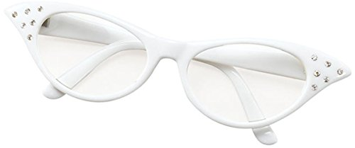 Bristol Novelties Ladies 50S Style Rock N Roll Dame Edna Specs Fancy Party White (Dame Edna Costumes)