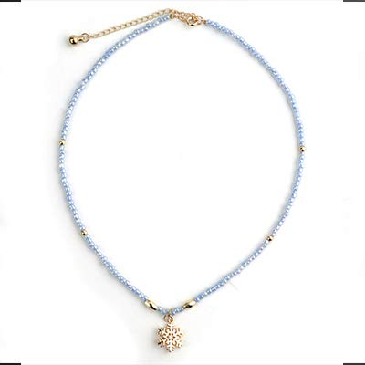 Davitu Young Necklace for Women New Jewelry Crystal Bead Seed Beads Copper Chain Pendants Necklace Fashion Festival Gifts NKS092 Metal Color: Light Rose