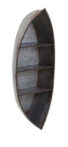 IMAX 89147 Nelson Galvanized Canoe Wall Shelf (Small Boat Shelves Shaped)