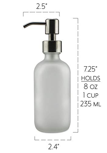 8oz Frosted Glass Soap Lotion Dispenser With Stainless