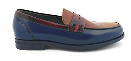 Marine en Chaussures Cuir sans Casual Zerimar Chaussures élégantes Homme Bordeaux Cuir Bleu Lacets Chaussures SqwwFxP4T