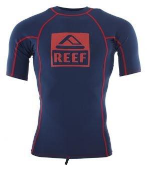New Reef Men's Logo 5 Rashguard Short Sleeve Polyester Elastane Blue