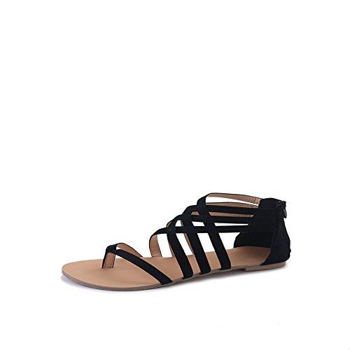 WindGoal Bohemia Women Shoes Sandal Clip Bandage Black Sandals Flat Summer Toe rrqCRx