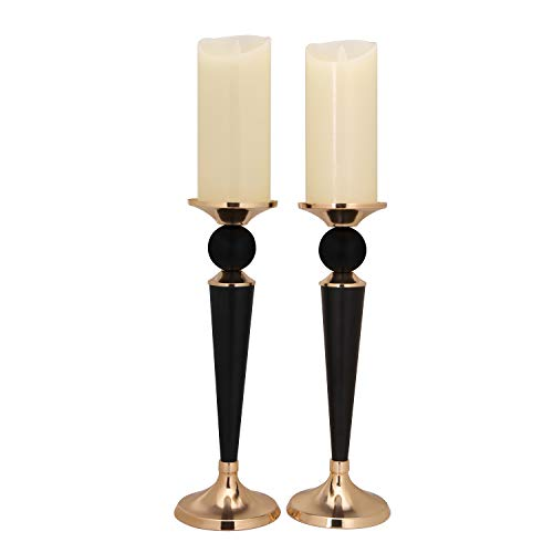 Ecoolda Decorative Candle Holder Set of 2,Home Decor Pillar Candle Stand, Coffee Table Mantle Decor Centerpieces for Fireplace, Living or Dining Room Table (Black Gold)]()