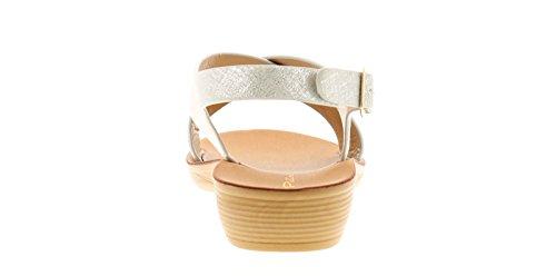 Platino Eliza Damen Keilabsatz Sandalen Silber - Silber - UK Größen 3-8