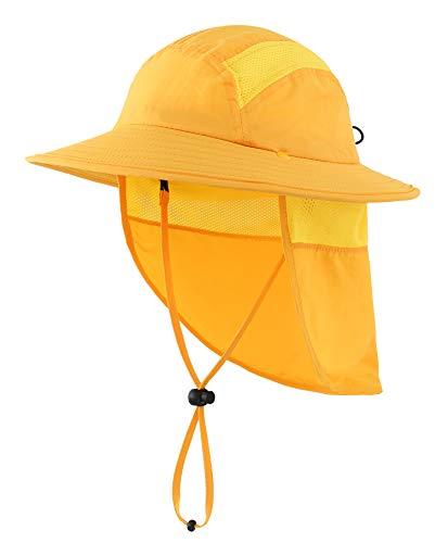 Home Prefer UPF 50+ Boys Sun Hat with Neck Flap Summer Beach Hat Kids Safari Hat (Yellow)