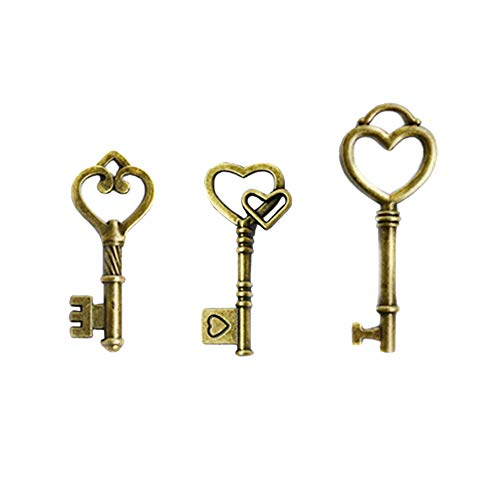 Makhry Mixed 30 Antique Style Vintage Skeleton Keys Heart Shaped Key Craft Keys for Decoration Wedding Party Antique Charms (Antqiue Bronze)