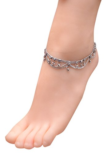 (Sansar India Oxidized Two Layer Chain Indian Anklet Jewelry for Girls and Women)
