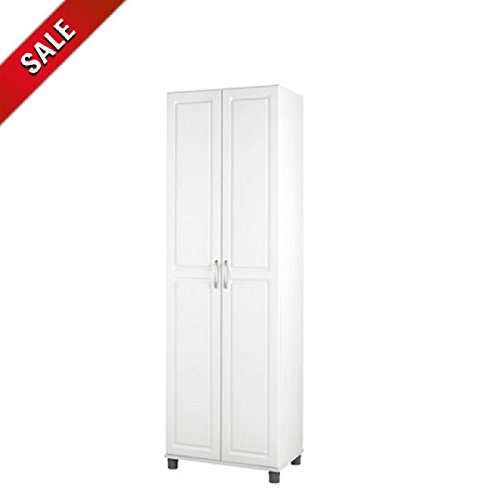 2-Door Standing Cabinet Storage White Wooden Floor Cabinet Freestanding Tall Contemporary Racks Adjustable 5-Tier Bath Cabinet Furniture & eBook by AllTim3Shopping by Ats