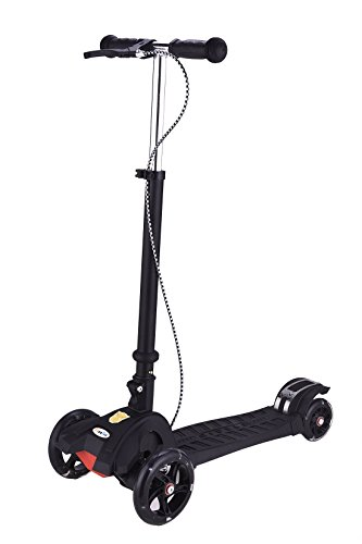 LinRin Hand and Foot Break Extra Thick PU Wheel Aluminum Base Foldable Scooter, Black - Electric 3 Wheel