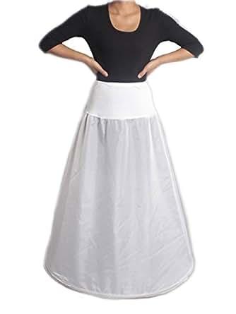 Luyan Aline 1-hoop Lycra Waistband Bridal Wedding Petticoat Crinoline Slip,s-xl,white