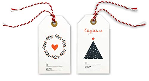 Elegant Christmas Gift Tags with Red Bakers Twine Pre-Strung