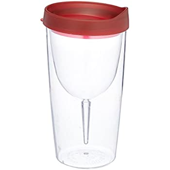 Vino2Go Double Wall Insulated Acrylic Wine Tumbler with Merlot Slide Top Lids 10 oz.