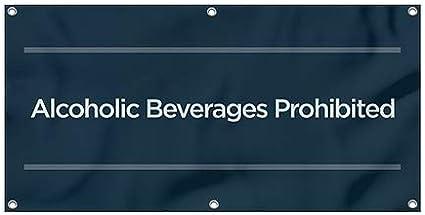 Basic Navy Heavy-Duty Outdoor Vinyl Banner Alcoholic Beverages Prohibited CGSignLab 8x4