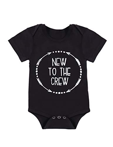 Newborn Baby 3 6 9 12 Months Boy Clothes Romper New to The Crew Funny Printed Onesies Bodysuit Outfits 3-6 Months Black