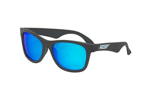 Babiators Unisex Aces Navigator Shades (Fueled By 6-10 Years) Black Ops Black/Blue Mirrored Lenses One - Ops Sunglasses Black