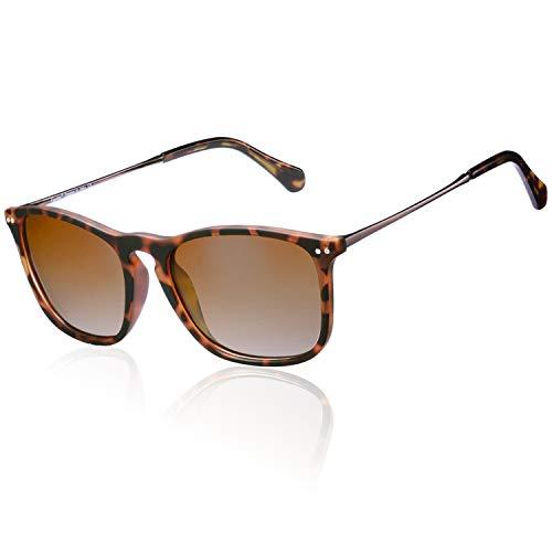 Carfia Square Polarized Sunglasses for Men UV Protection on Driving Fishing Golf (Carfia Vintage Womens Polarized Sunglasses With Uv400 Protection)