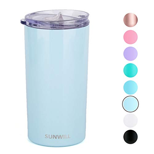 SUNWILL Coffee Mug with Lid, Vacuum Insulated Skinny Tumbler Lowball, Double Wall Stainless Steel Coffee Cup for Travel, Indoor and Outdoor 12oz, Pearl Blue ()