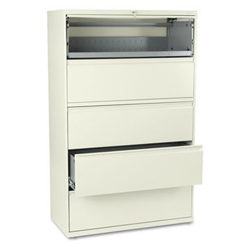 (HON 895LL 800 Series Five-Drawer Lateral File, Roll-Out/Posting Shelves, 42w x 67h, Putty)