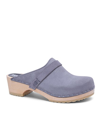 Swedish Low Heel Wooden Clog Mules for Women | Tokyo in Purple Ash by Sandgrens, size US 10 EU - In Tokyo Shop