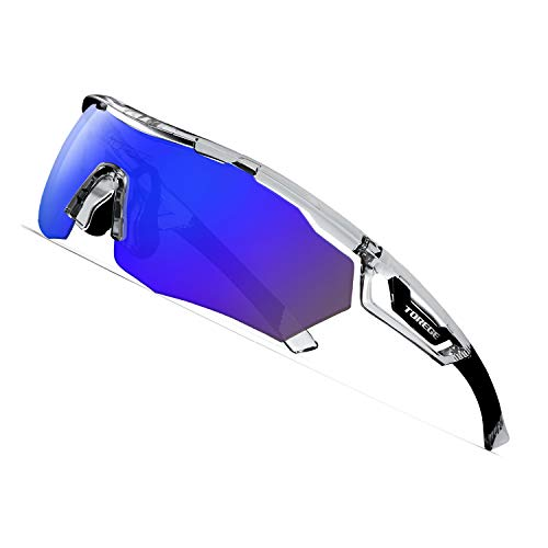 TOREGE Polarized Sports Sunglasses with 3 Interchangeable Lenes for Men Women Cycling Running Driving Fishing Golf Baseball Glasses TR05 (Transparent&Black&Blue Lens)