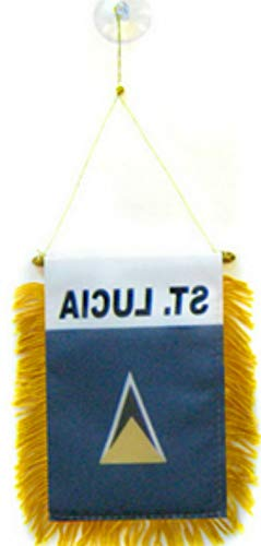 florance jones St. Lucia Mini Flag 4x6 Window Banner w/Suction Cup   Model FLG - 4175 ()