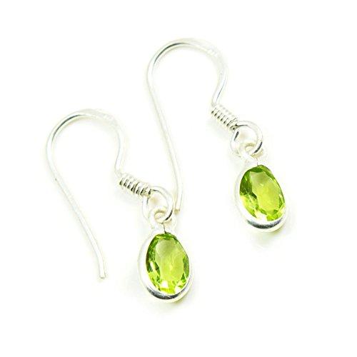 Jewelryonclick Natural Oval Shape Green Peridot Fish Hook Drop Earrings 925 Sterling Silver Handmade Pair