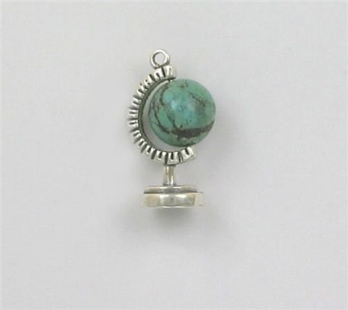 OutletBestSelling Pendant Bracelet Sterling Silver 3-D World Globe Charm, Turquoise Accent (Sterling Silver Turquoise Accent)
