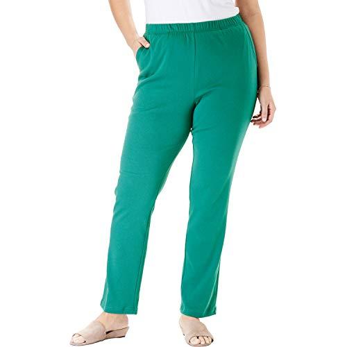 Woman Within Women's Plus Size Petite 7-Day Knit Straight Leg Pant - Foliage Green, 2X