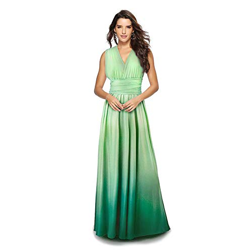 (Women's Transformer Casual Gradient Color Deep V Neck Convertible Wrap Multi Way Dress Sleeveless Halter Formal Wedding Party Floor Length Cocktail Gown Long Maxi Dress Gradient Green Large)