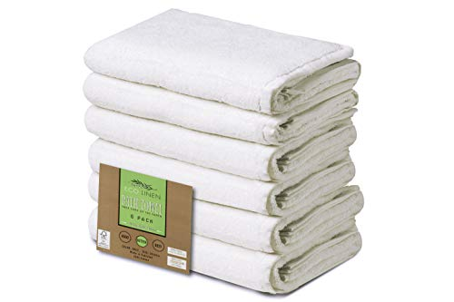 Eco Linen Soft Organic Bath Towels, Highly Absorbent Combed Cotton, Basic Bath Towel Collection, 22″ x 44″, Set of 6, White