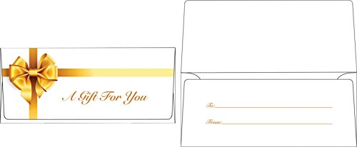 Currency Envelopes (2 7/8 x 6 1/2) - Gold Bow (50 Qty.) | Perfect the HOLIDAYS, Birthdays, Graduations, Company Bonuses, Gifts, Money and More! | - Bow Envelope