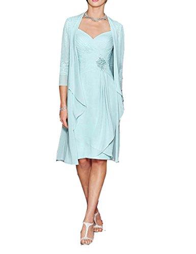 - H.S.D Ladies Column Short Lace&Chiffon Mother of The Bride Dress with Bolero Sky Blue