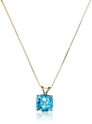 14k Yellow Gold Cushion Checkerboard Cut Swiss Blue Topaz Pendant Necklace (8mm), - Cut Swiss Yellow Pendant