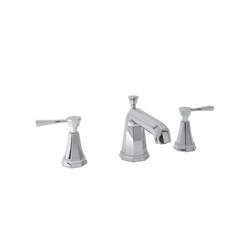 Rohl U.3141LS-2 Perrin and Rowe Widespread Bathroom Faucet with Brass Lever Hand, Polished Chrome (Handle Rowe Double Lavatory)