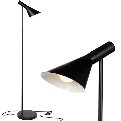 - Brightech Levi LED Focused Floor Lamp - Contemporary Mid Century Modern LED Standing Light with Metal Shade for Bedroom Living Room Office Tasks - Black