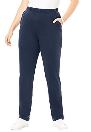 Roamans Women's Plus Size Petite Soft Knit Straight-Leg Pant - Navy, L