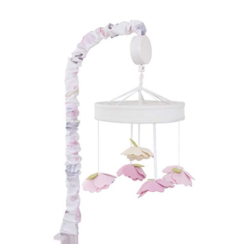 (NoJo Watercolor Deer Nursery Crib Musical Mobile with Dimensional Felt Flowers, Pink/Taupe/Dusty Rose/Cream/Green)