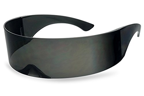 SunglassUP - Wrapped Around Futuristic Cyclops Mirror Single Lens1 Piece PC Sunglasses (Black, Black) (Sunglasses That Play Music In Your Head)